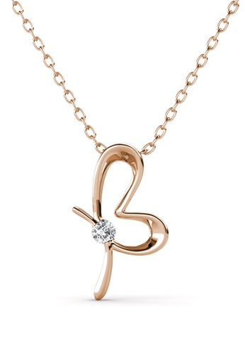 Her Jewellery gold Posie Butterfly Pendant (Rose Gold) - Made with premium grade crystals from Austria 0A97DAC972F7BEGS_1