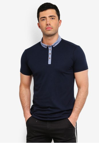 Brave Soul navy Button Down Polo Shirt 20CA1AA90CECA6GS_1