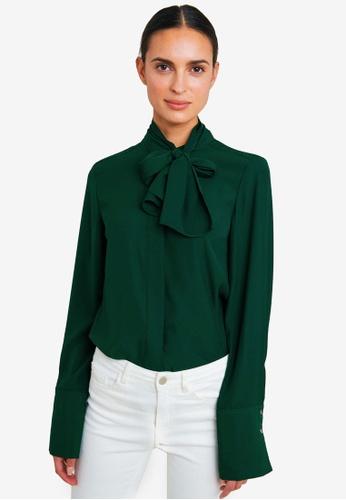 FORCAST green Amy Detachable Scarf Blouse 269DDAA56809C8GS_1