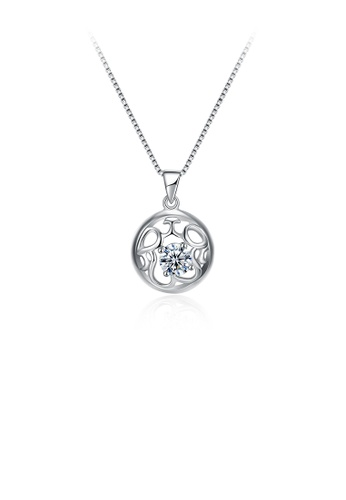 Glamorousky white 925 Sterling Silver Round Skeleton Pendant with Austrian Element Crystal and Necklace 907B6AC5191D54GS_1