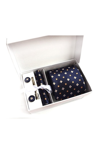 Kings Collection blue Blue Tie, Pocket Square, Cufflinks, Tie Clip 4 Pieces Gift Set (UPKCBT2079) C7A58AC4FE5F41GS_1