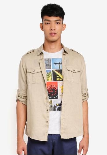 OVS beige Sun Faded Shirt EBB60AADB539E8GS_1