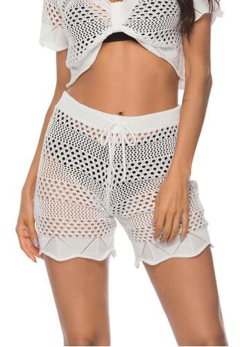 LYCKA white LTH4185-European Style Beach Casual Shorts-White B1952US6F660FAGS_1