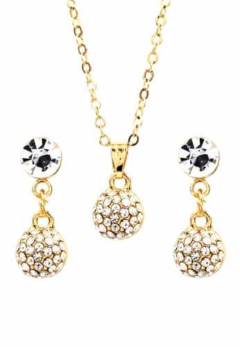 Venice Jewelry gold Venice Round Necklace and Earrings Set VE564AC0IJ9YPH_1