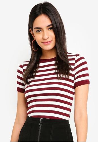 dc46a57fa00a3 TOPSHOP red Short Sleeve Stripe Scallop T-Shirt 3EFA2AA15B31AEGS 1