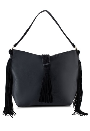 Buy Dorothy Perkins Black Fringe Hobo Bag | ZALORA Singapore
