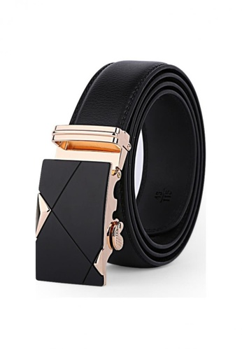 Jackbox black Dante Premium Leather Automatic Buckle Men's Belt 802 (Gold) JA762AC02EXDMY_1