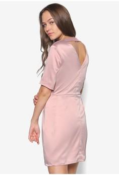 Short Sleeve Satin Cut Out Back Bodycon Dress