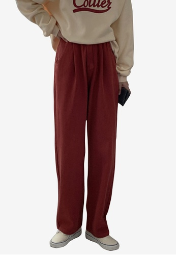 Zafiti red Women's Korean Style High Waist Straight Cotton Pant - Red 3E028AA2A77BA9GS_1