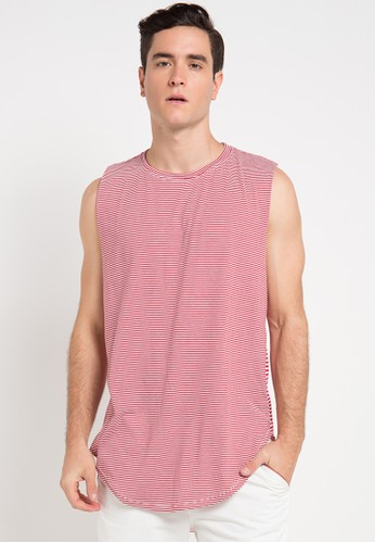 B-Side by Bleach Project red Striped Scoop Muscle Tee BS692AA0VRRHID_1