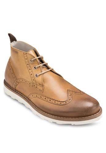 沖孔雕花短筒皮靴, 鞋, esprit 台北鞋