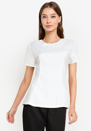 ZALORA WORK white Round Neck Fitted Top ECE04AA9471908GS_1