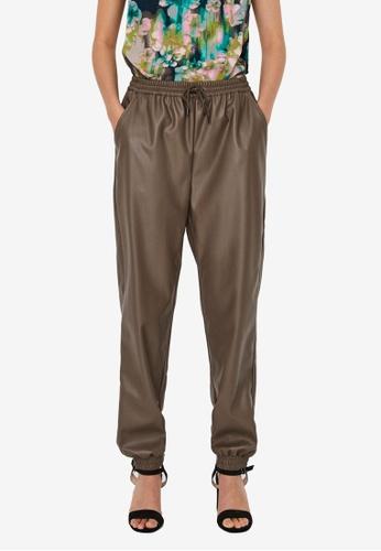Vero Moda brown Sola Natalie High Waist Coated Pants 3BA86AAFCB7D4BGS_1