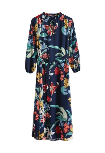 LC Waikiki navy Floral Waistband Chiffon Dress 027A7AA97339E7GS_1