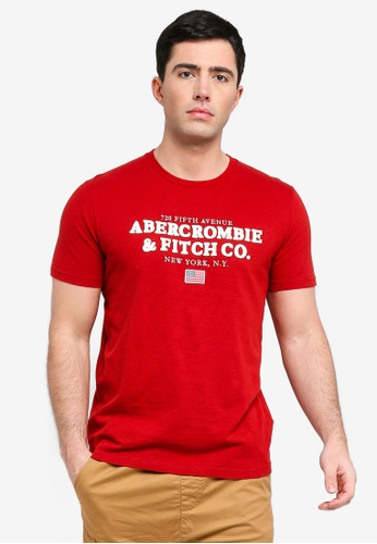 Abercrombie & Fitch 紅色 刺繡T恤 29858AA814A50AGS_1