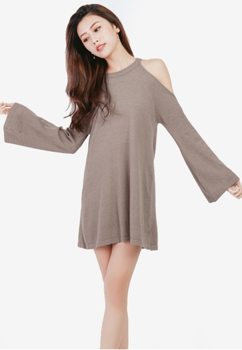 Yoco brown Cold Shoulder Knit Dress D0BF5AA2A26714GS_1