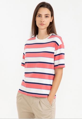 Bossini pink Short Sleeve Striped Tee 19642AA37EB9B9GS_1
