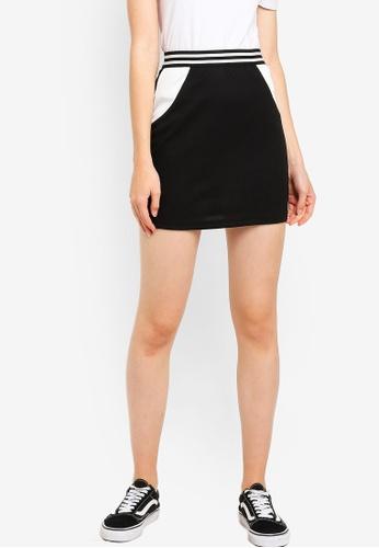 Something Borrowed 黑色 撞色針織緊身短裙 1FEE3AA2BBE3A2GS_1