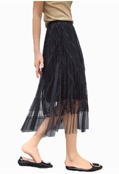 f58d913c8122 Halo black Layered Net Yarn Skirt 98935AA8B7D4C4GS_1