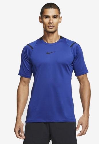 Nike blue Pro AeroAdapt Short Sleeve Top 1A380AA58090A8GS_1