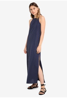 372f6814988d4 Something Borrowed navy Halter Slit Maxi Dress A284EAA71B584CGS_1