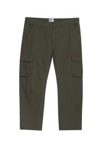 Electro Denim Lab green Plus Size Straight Cut Cargo Pants 6D1D7AA61E3F53GS_1