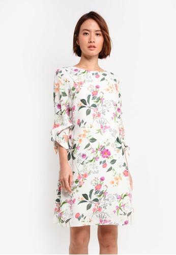 Wallis beige Petite Garden Tie Sleeve Dress 8D7CCAA4313D46GS_1