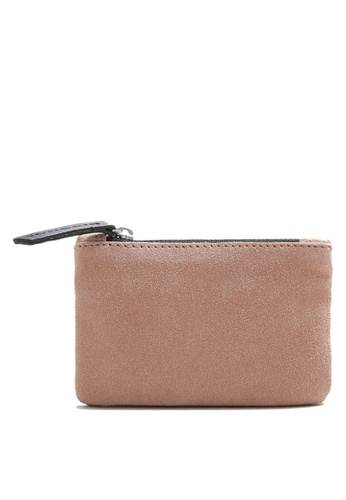 Mango pink Zipped Leather Wallet 840E8AC2A5C487GS_1