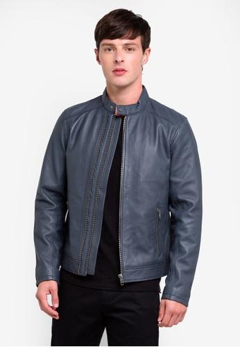 ESPRIT 藍色 Outdoor Leather Regular Jacket DBC7FAA92C2C3EGS_1