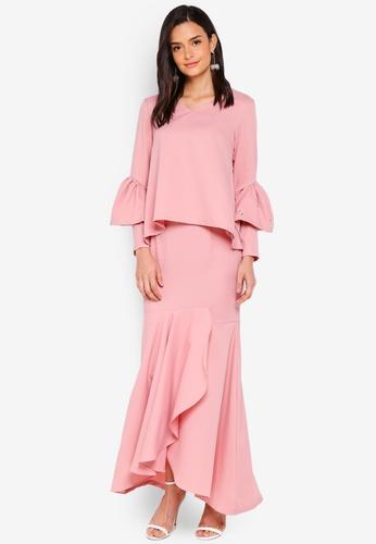 Lubna orange Double Sleeves Overlap Skirt 7F395AA715AB5BGS_1