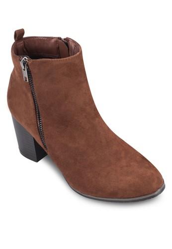 側拉鍊麂皮zalora鞋子評價粗跟短靴, 女鞋, 靴子
