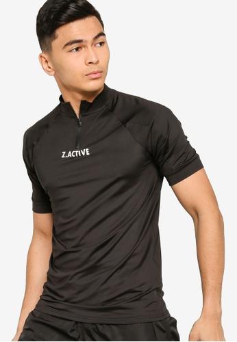 ZALORA ACTIVE black Active Zip Neck T-shirt E8DB8AA05438B9GS_1