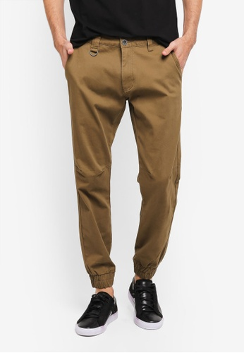 SPARROW GREEN brown Ike Slim Stretch Joggers SP065AA0ST5LMY_1
