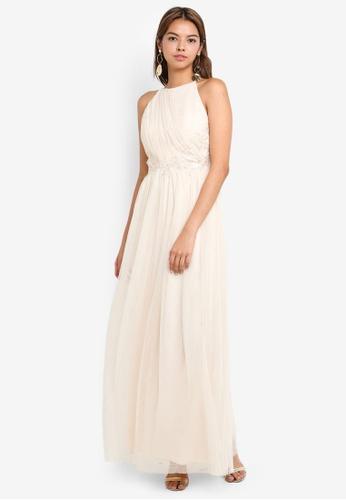 bd8abd83cbe Buy Little Mistress Cream Mesh Maxi Dress