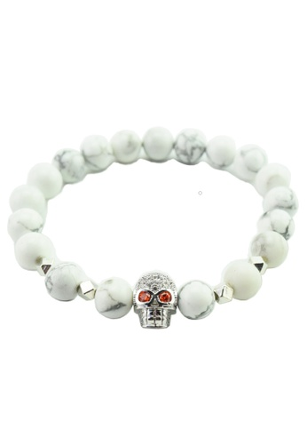 Memento Collection white Signature Skull Detailed Howlite Bracelet ME060AC24XBFMY_1