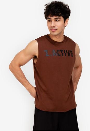 ZALORA ACTIVE brown Z-Active Sleeveless T-Shirt 2CDCAAAFD8D5A8GS_1