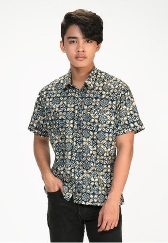 House Of Olsha blue and beige Cotton Batik Shirt - Ara Blue 94046AAE25F2FFGS_1