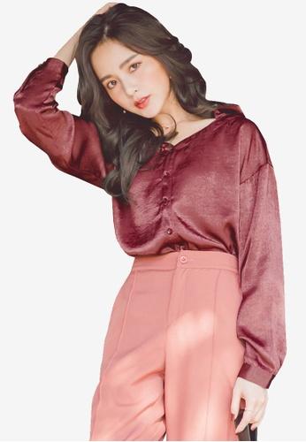 Yoco red Velvet V-Neck Collar Shirt 7927EAABADA174GS_1