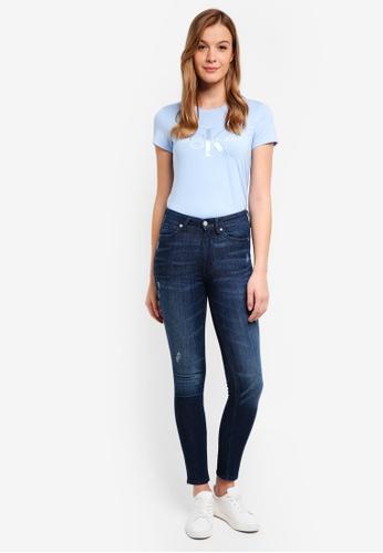 Calvin Klein blue A-Satin Monogram Log Tee - Calvin Klein Jeans 2103CAA4E58F8AGS_1
