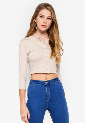 5431b1525e3 MISSGUIDED multi and beige Button Front Long Sleeve Crop Top  F436DAA0A6D75BGS_1