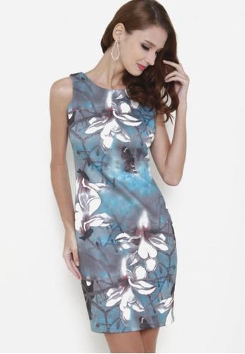 Sophialuv blue Feeling Bloom Sleeveless Bodycon Dress in Winter 856EDAA55D9736GS_1