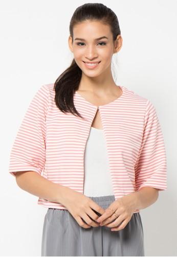 ECLAT APPAREL pink Stripes Outer EC565AA42ZKFID_1