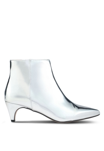 Public Desire silver Atomic Pointed Toe Low Heel Boots 7E8D9SH468DB5AGS_1