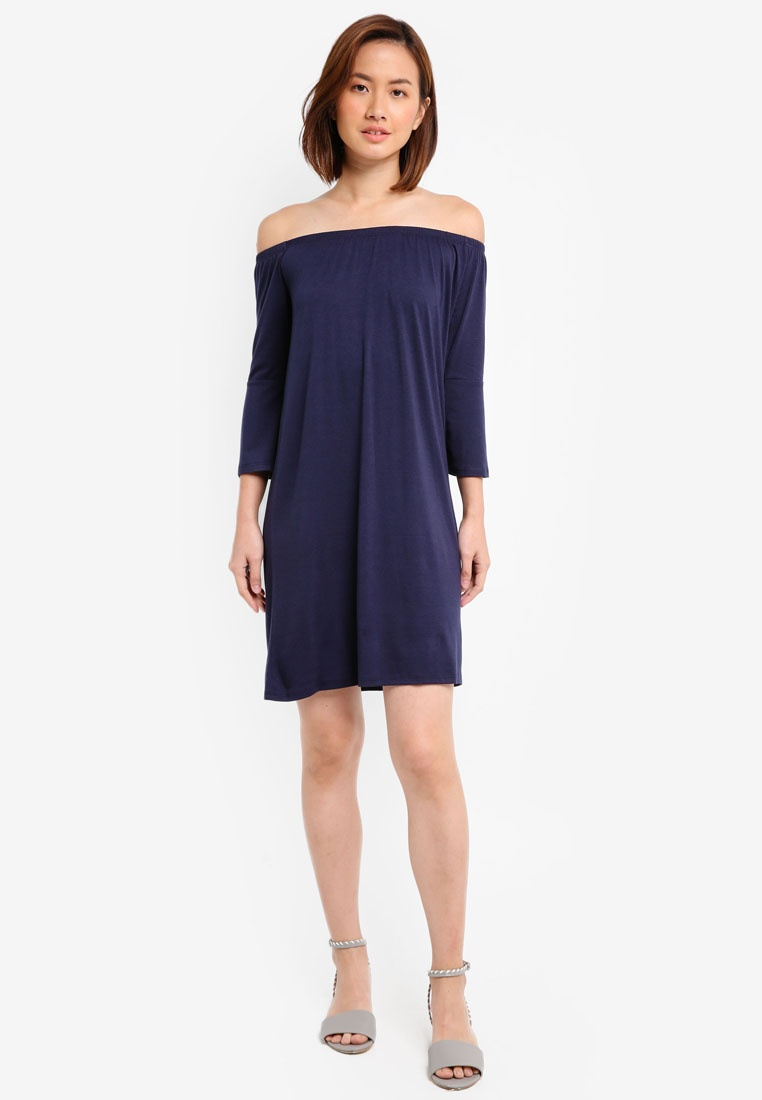 Sleeve Loose 2 Flared Navy Essential With ZALORA Burgundy BASICS Pack Off Dress Shoulder BFHTEr8Twq