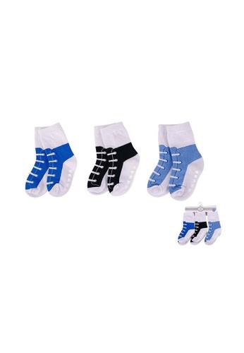 Little Kooma white and blue Hudson Baby Socks 3 Pairs Pack Anti-slip 00499CH 61AADKA831FF58GS_1