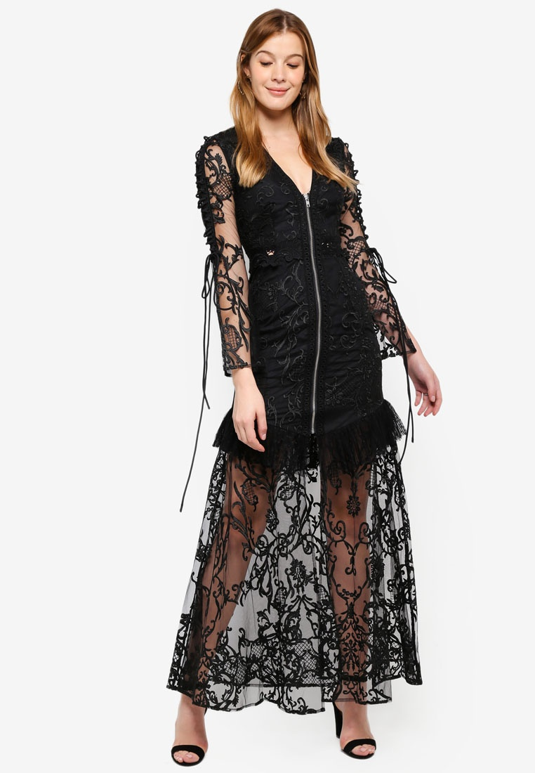 Details Maxi With Decadence Black True Lace Sheer Dress nAArBI