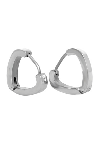 Elfi silver Elfi Stainless Steel Triangle Hoop Earrings 51B7CAC3EDBF06GS_1