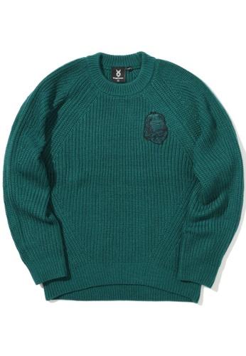 Fingercroxx green Bigfoot ribbed sweater 28323AAEE14175GS_1