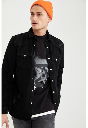 DeFacto black Man Denim Long Sleeve Shirt F8ACEAA17459C2GS_1