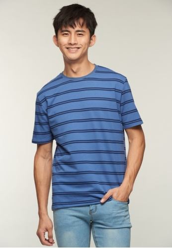 DRUM blue and navy Twin Stripe Tee- Navy 376F0AA74DFBC5GS_1